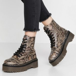 Call It Spring Rockit Faux Snake Combat Boots
